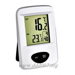 Бюджетен безжичен термометър за вътрешна и външна температура.